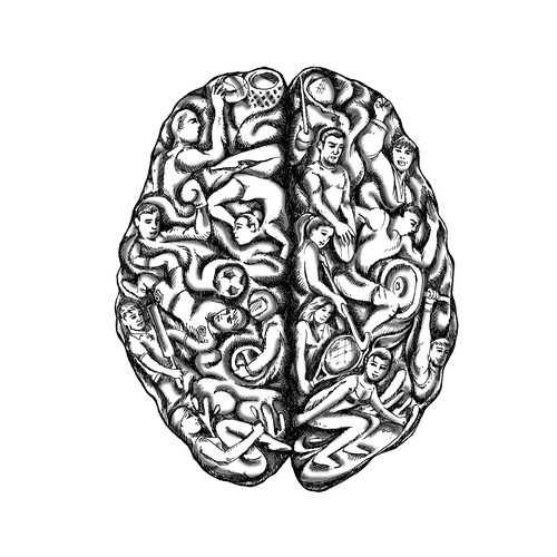 black and white illustration of an athletes / sports Brain