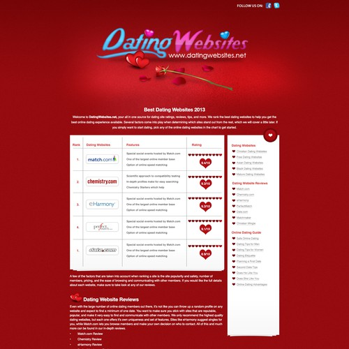 New website design wanted for DatingWebsites.net