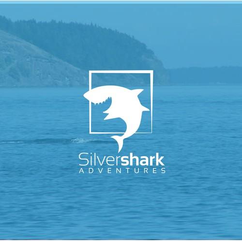 creative logo design concept for silver shark