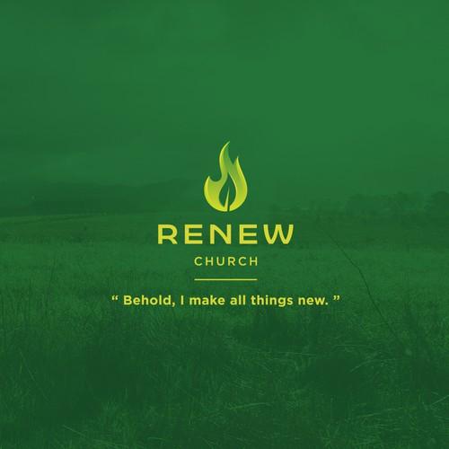 Flamed Leaf logo for church