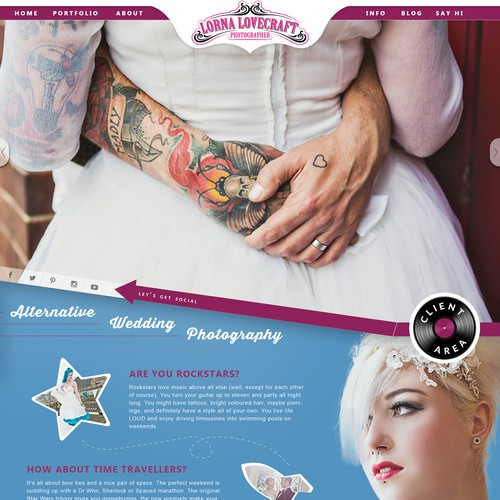 Bold bright funky landing page for alternative wedding clients