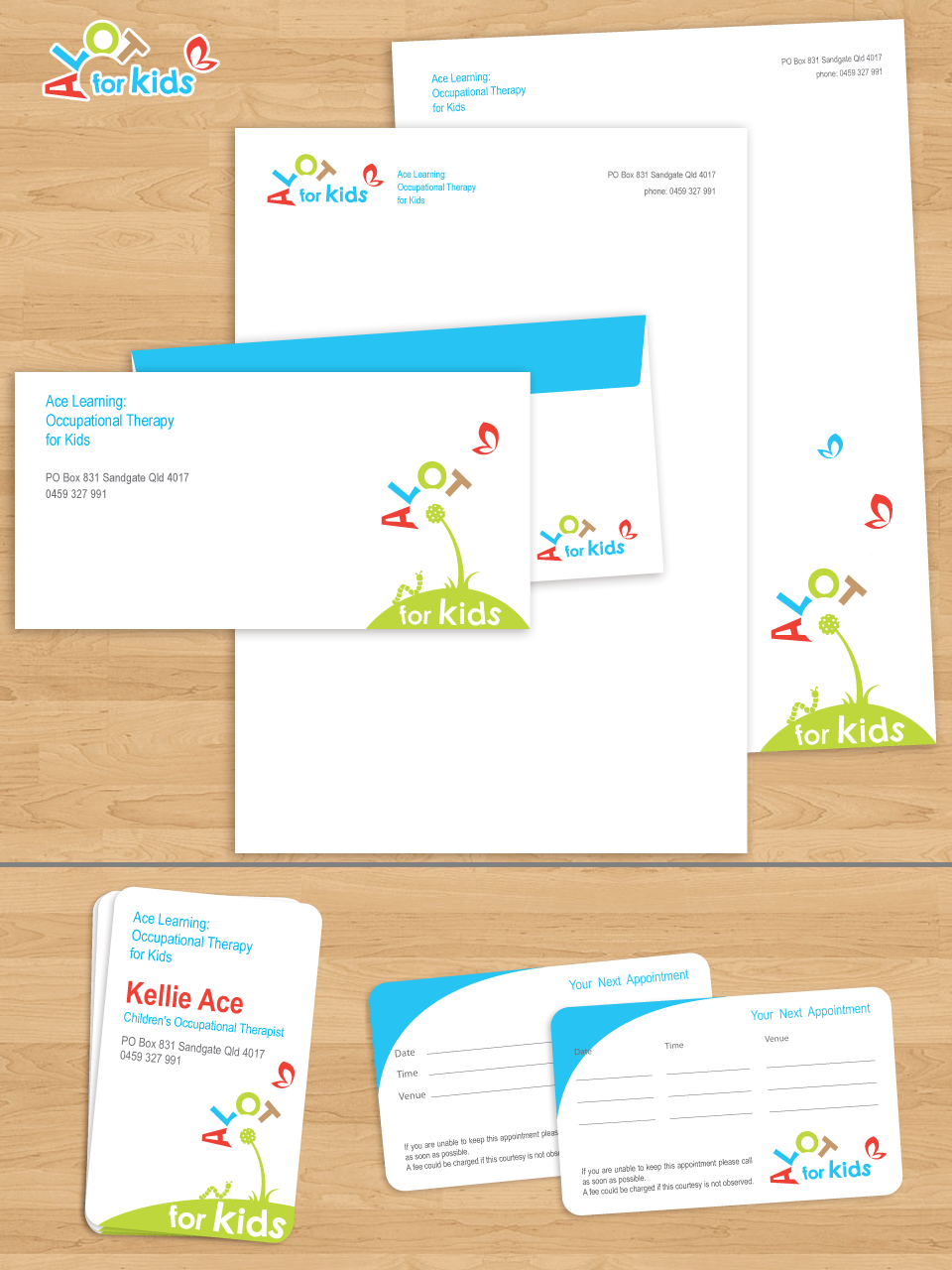 Create the next stationery for Ace Learning: Occupational Therapy for Kids