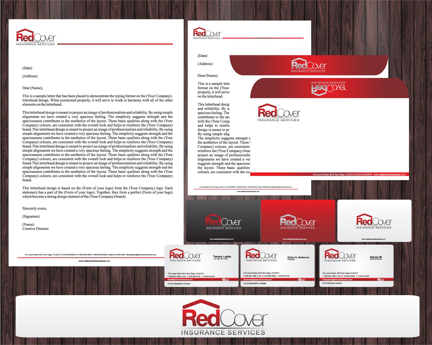 Business cards and stationary needed for Red Cover Insurance