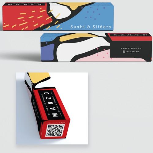 Sushi Box with pattern based on Abu Dhabi map