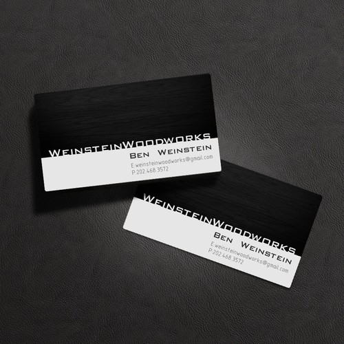 Create a sleek business card design for a furniture making business