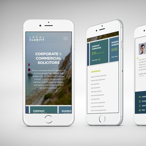 Website design and mobile version for legal company
