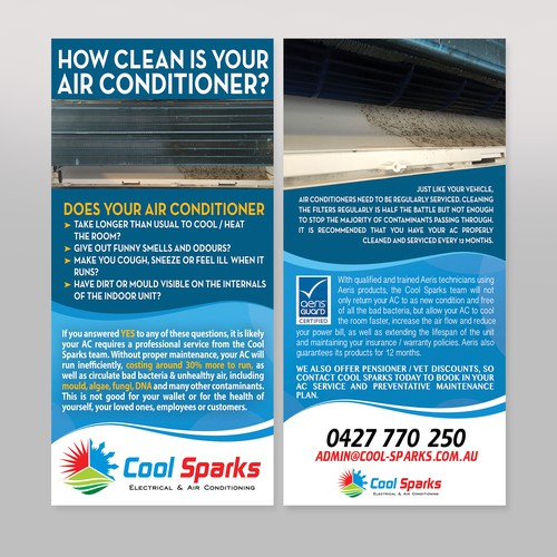 Double sided DL-flyer for Cool Sparks Electrical & Air Conditioning
