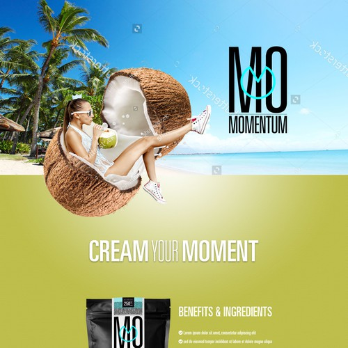 Landing page for a Coconut creamer product