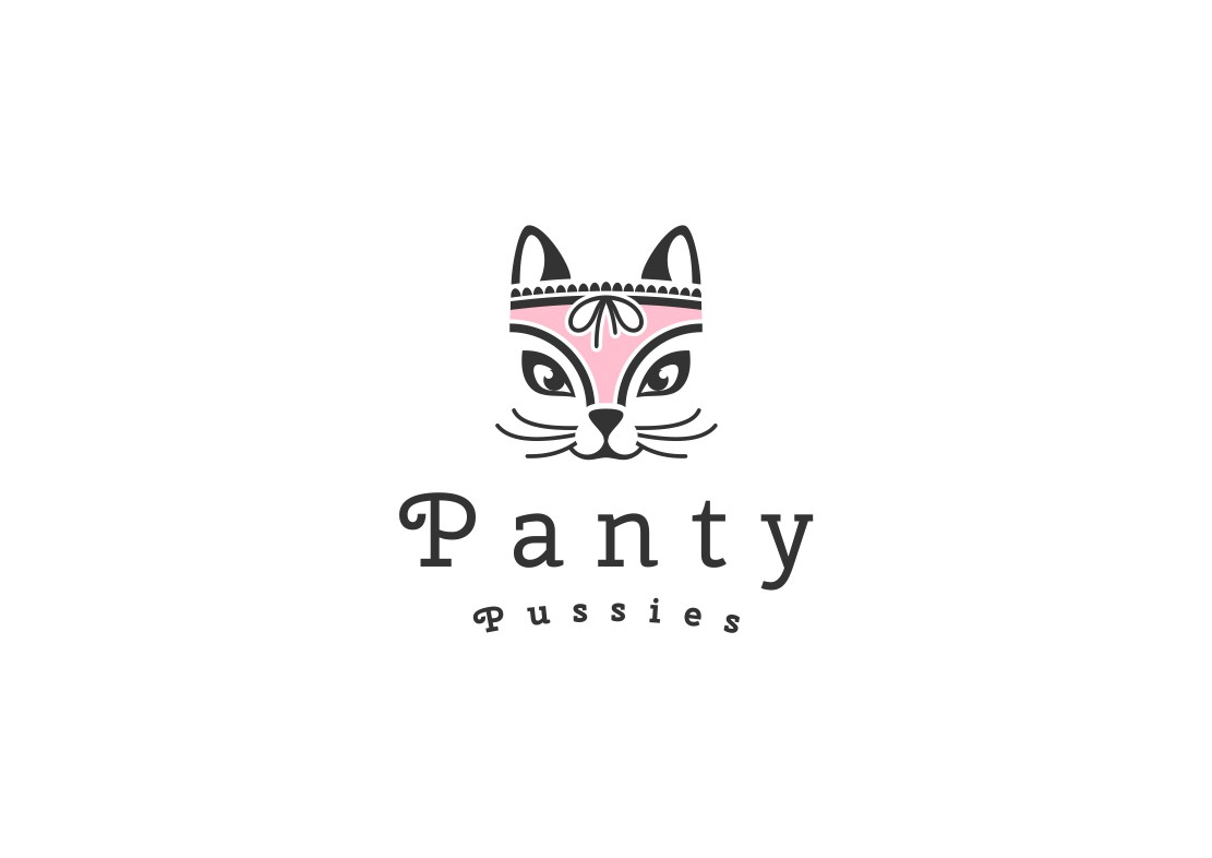 A kittens face illustrated on the crotch of female panties
