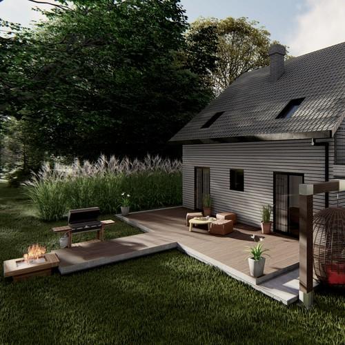3D rendering modern wooden for single/family house