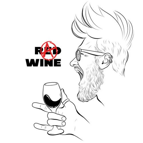 Wine drinkers T-shirt design (male)