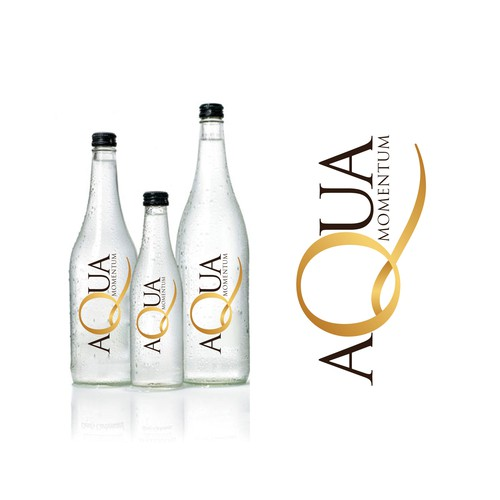 label for water with gold flakes