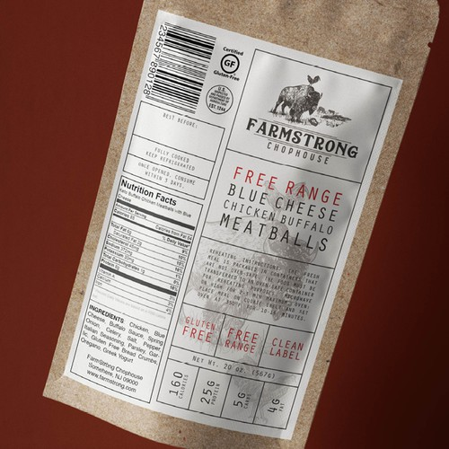 Label for FarmStrong Chophouse Meatballs