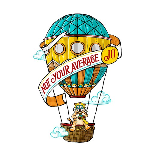 Design a hot air balloon tattoo illustration for a fun communications co.
