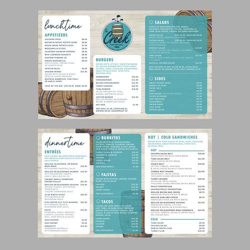 Menu Design for a Pub & Grill