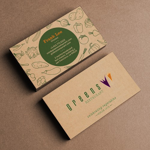 Business card design for Green Restaurant