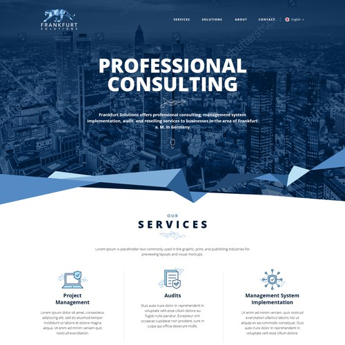 Website for Frankfurt Solutions.