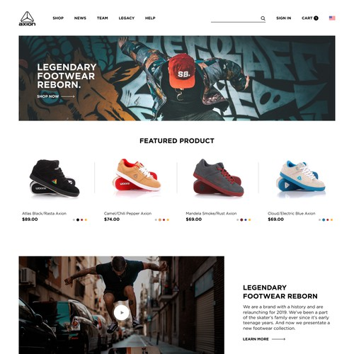 Skateboard Shoes and Apparel. Landing page for a brand with a history, who are relaunching for 2019.