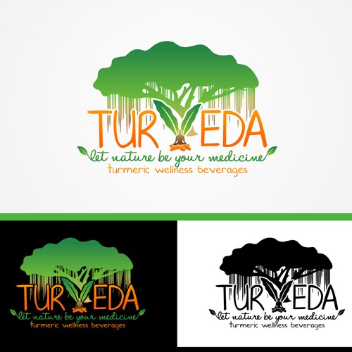 Create a eye capturing logo for a new all natural health beverage company called TURVEDA.