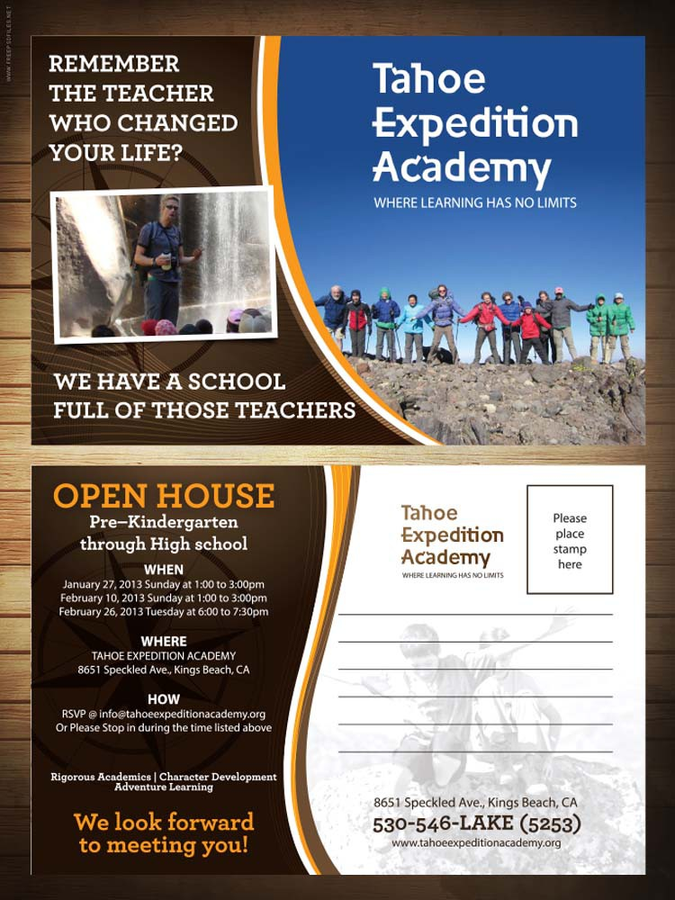 Tahoe Expedition Academy needs a new postcard or flyer