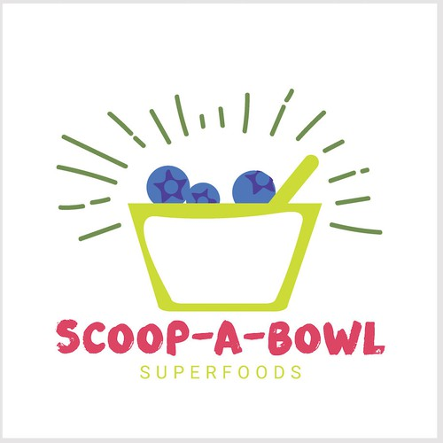 Colorful logo for Acai bowl, suerfoods cafe