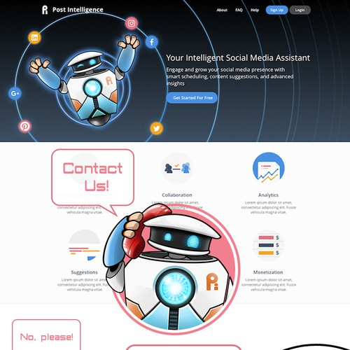Robot Mascot for Social Media Analytics Service