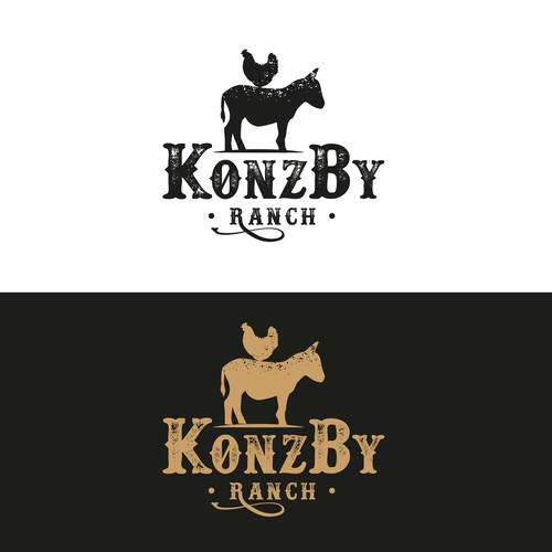 ranch with chickens and donkeys logo