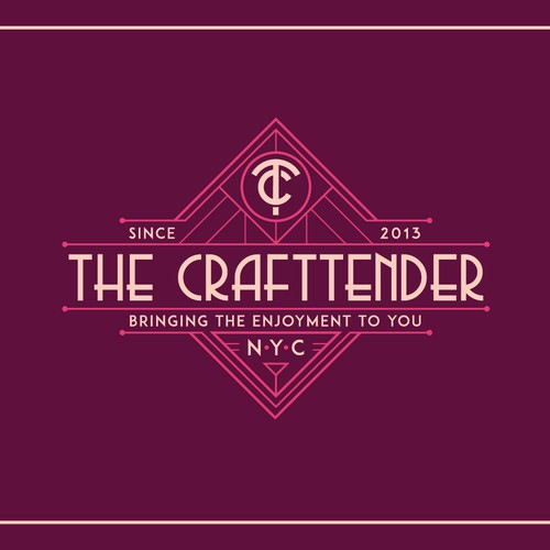 "Art-deco style logo for NYC cocktail caterer ""The Craftender"""