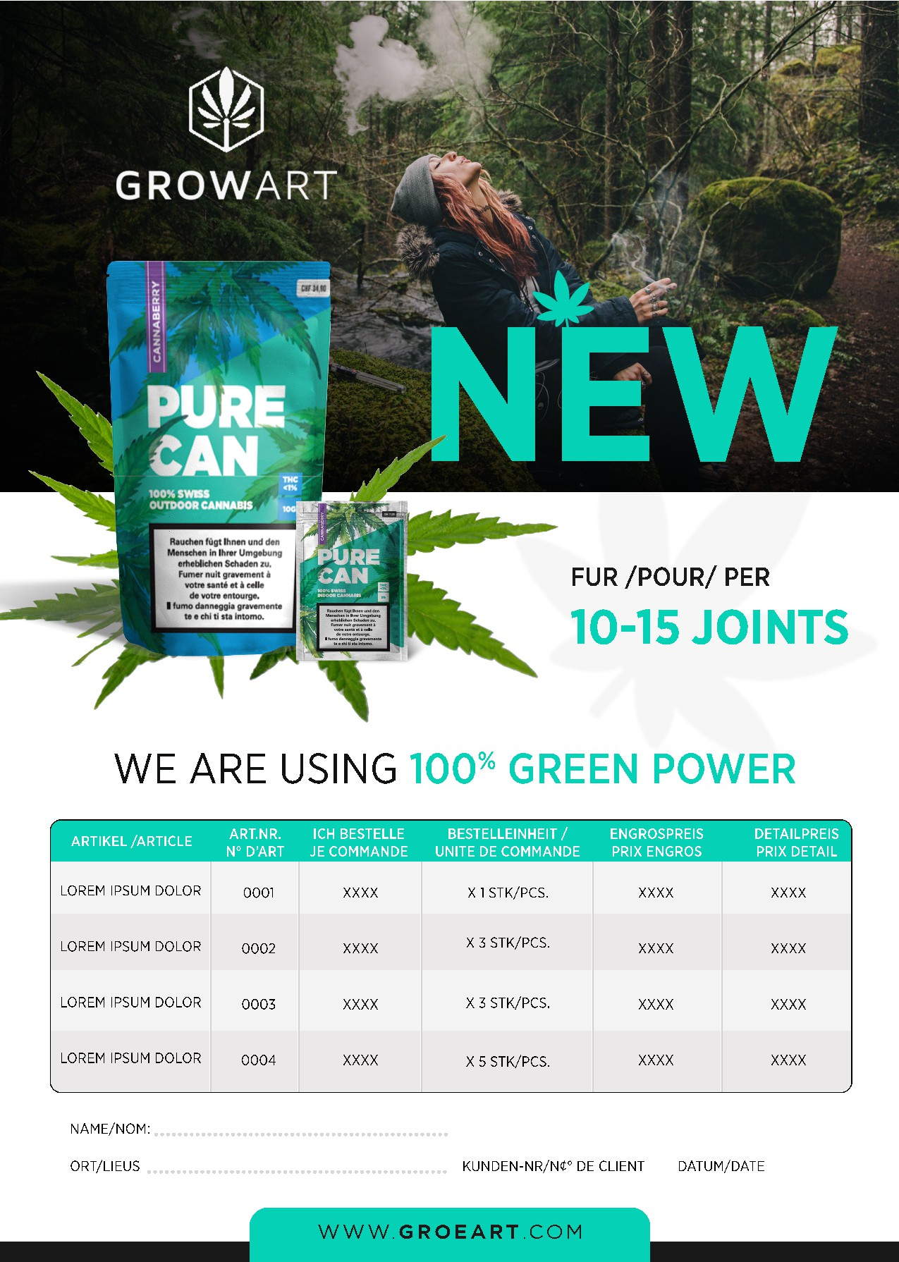 Order sheet for new hemp smoke products