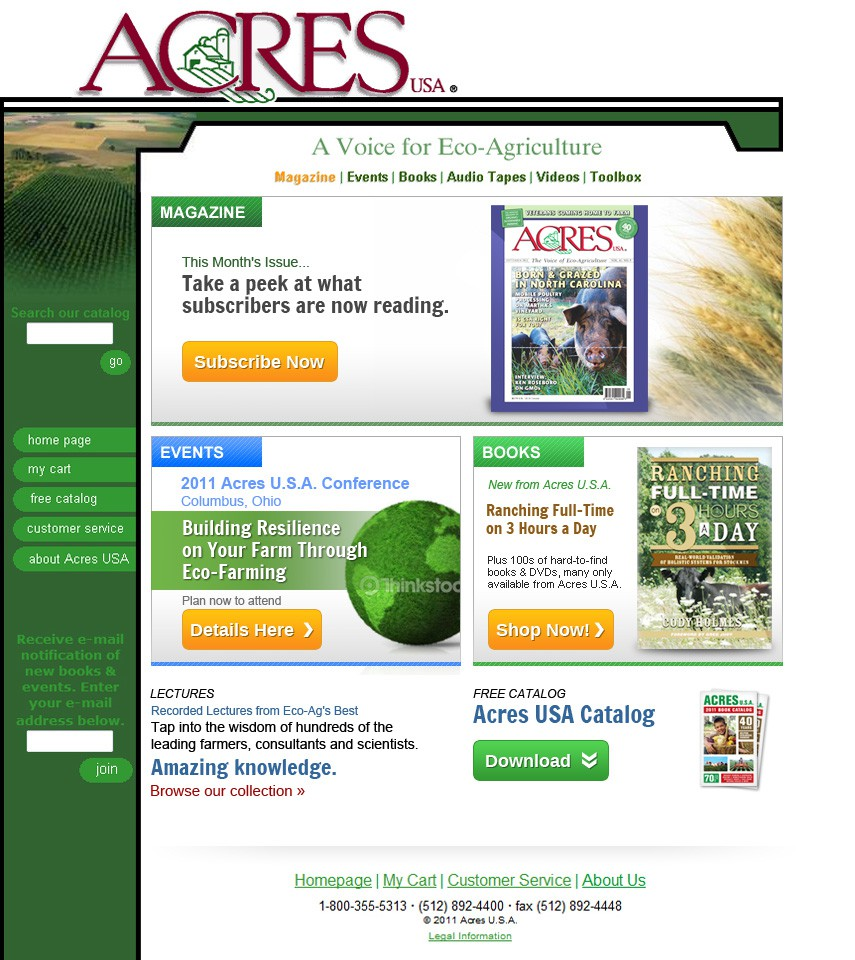 Homepage redesign for organic publisher