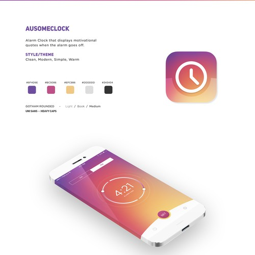 Create a Simple, Clean, Modern, Warm Alarm Clock iOS App