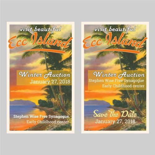 Tropical island themed invitation and save the date cards