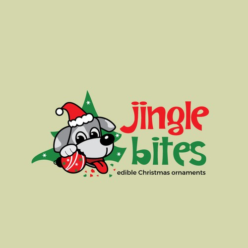 cute dog christmas theme logo