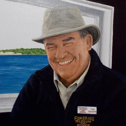 Portrait painting of retired fisherman