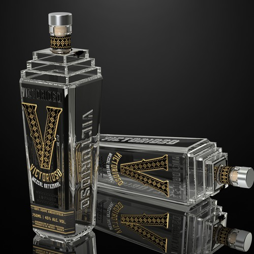 Showy, Zapotec inspired design for a customized bottle of Mezcal