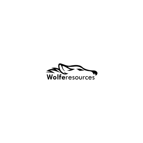 Create a simple but stylish wolf logo for Wolfe Resources