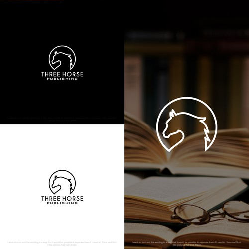 Design a simple hipster logo for Three Horse Publishing