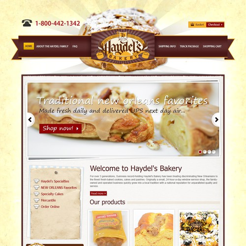 Haydel's Bakery (king cake shop) needs a website design!