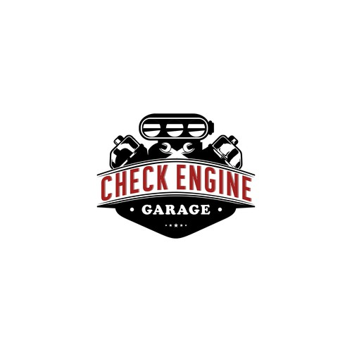 Check Engine Garage logo design for sport racing cars
