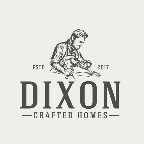 vintage construction logo design