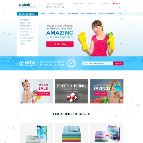 Homepage Design for Cleaning Products Company