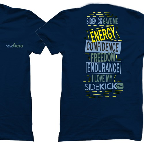 Design a t-shirt for SideKick; a product that renews life by empowering breathing and increasing energy