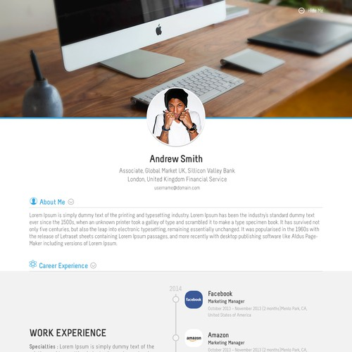 Winning design for One page resume website.