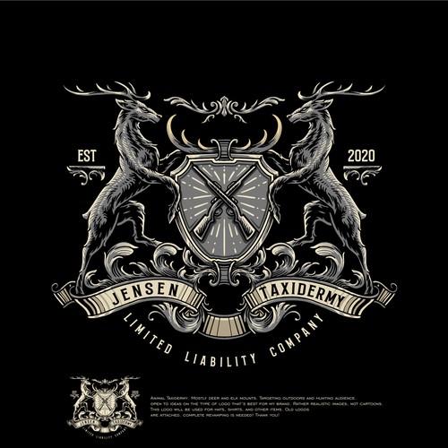 Coat of arms / crest deer hunting hunt  logo design