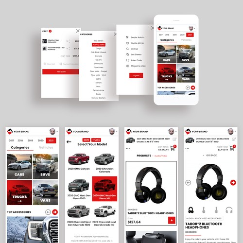 Redesign car accessories shopping cart software.