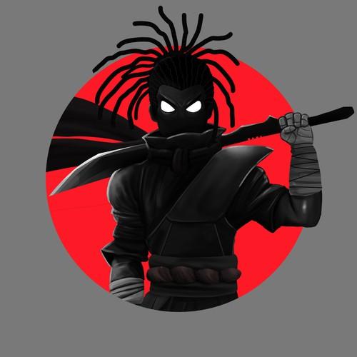 Design a goth Ninja for Instagram gamer account.