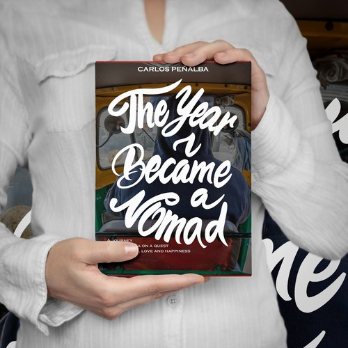 "Creative cover for adventurous travel memoir: ""The Year I Became a Nomad"""