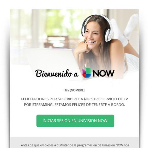 Welcome Email TV streaming app, Univision NOW