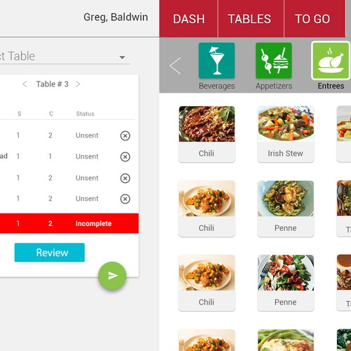 App Design for restaurant POS