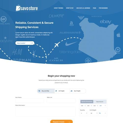 Homepage design for Savo Store